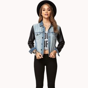Forever 21 Denim Jacket With Leather Sleeves